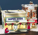 Snow Village Super Suds Laundromat 55006